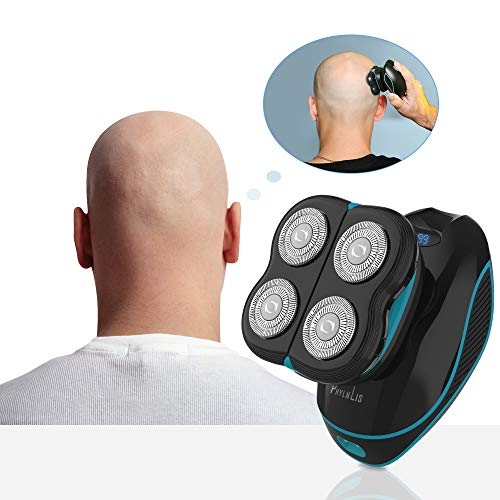 Men's Bald Head/Skull & Face Shaver Mini Trimmer Cordless Clipper Kit Fast Charging Palm Beard Rotary Barber Shaver Waterproof Rechargeable Multifunction PhylnLis 8608