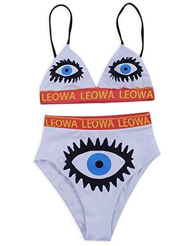 Eternatastic Womens Eye-Printed High Waisted Bikini Set Padded Two Pieces Swimsuit L White-Blue ()