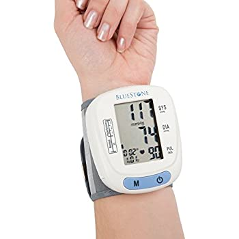 Bluestone Automatic Wrist Blood Pressure Monitor with Digital LCD Display Screen- BP and Pulse Monitoring with Adjustable Cuff and Storage Case