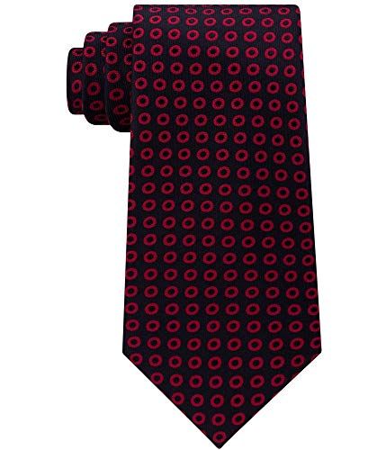 Sean John Red Scarlet Graphic Polka Dot Men's Neck Tie Silk Black Not Applicable