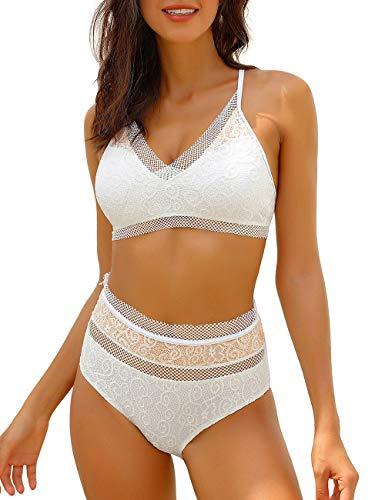 Utyful Women's White V Neck Crochet Lace Adjustable Straps One Piece Swimsuit Swimwear Large