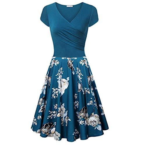 Photno Women's Short Dress Sexy deep V- Neck Dresses Printed Floral Vintage Elegant Flared A-Line Dress Blue ()