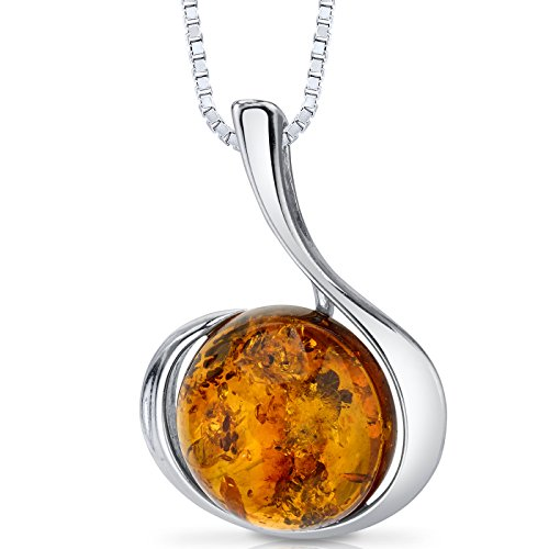 Baltic Amber Large Round Pendant Necklace Sterling Silver Cognac Color ()