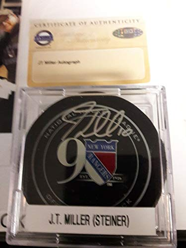 Jt Miller Autographed Signed Rangers 90th Anniversary Official Game Puck & Case Steiner Coa - Certified Signature (Steiner Sports Puck Case)