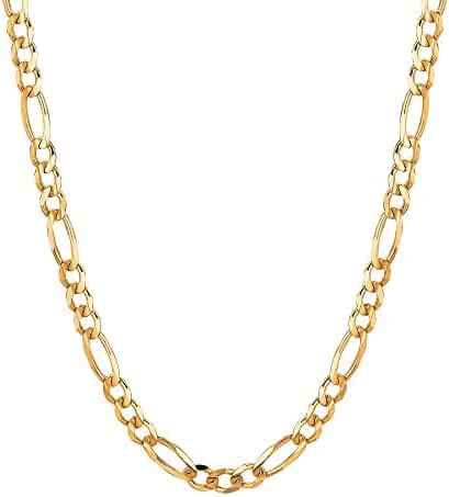 10Kt Solid Gold Mens Figaro Curb Link Chain/Necklace 4 Mm 100Rfig