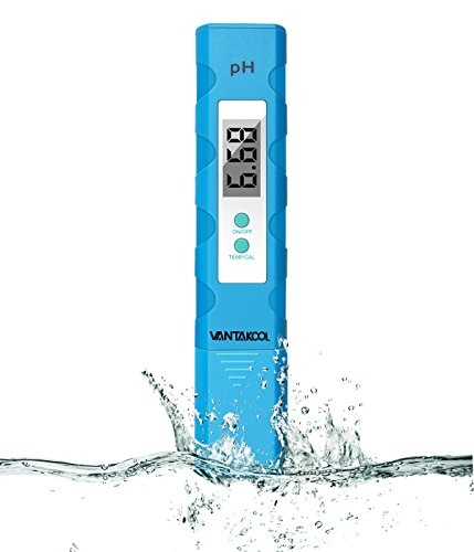 Digital PH Meter, Water Quality Tester 0.1PH Resolution Pocket Size PH Tester with ATC 0-14 pH Measurement Range for Household Drinking, Hydroponics, Swimming Pools and Aquarium (Blue-New)