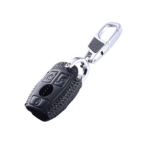 C-class Amg (DKMUS Leather Key Cover for Mercedes Benz W203 W204 W210 W211 AMG Class A B C E S ML GL CLA CLK C180 E200 Remote FOB Case Keychain (Luxury Black))