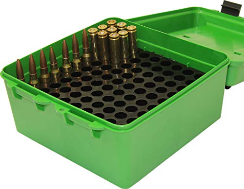 MTM R-100 Deluxe 100 Round Rifle Ammo Box 22-250 243 270 308 Win 30-06