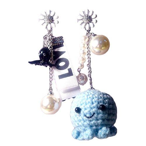 Sansukjai Earring Octopus Figurines Amigurumi Crochet Octopus Blown Glass Fashion Earring, Handmade Jewelry, Christmas (Fairy Magical Friend Mini Plush)