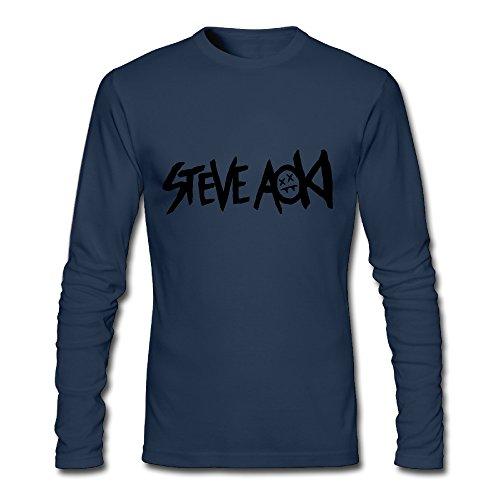 IYI 2016 Men's Steve Aoki Art Logo Fashion Long Sleeve T Shirt Navy