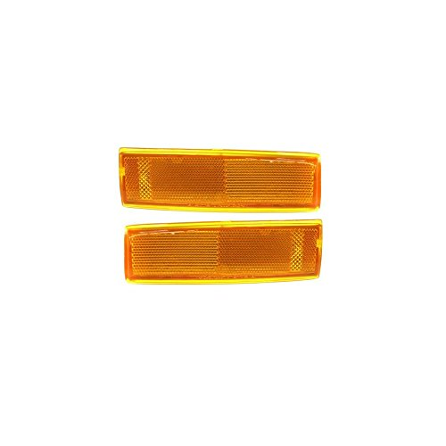 Evan-Fischer EVA20572055866 Corner Light Set of 2 Passenger & Driver Side RH LH Lamp Park Parking Marker Plastic lens Amber DOT SAE (Park Lamp Lens)