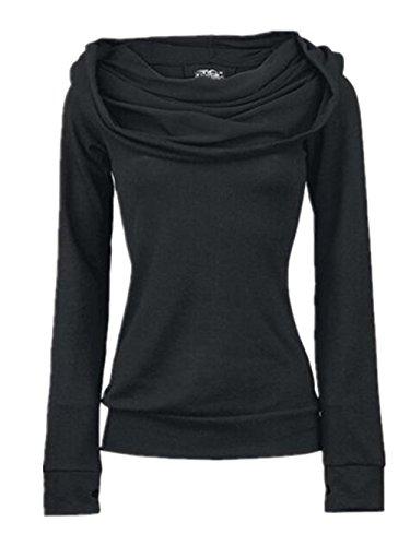 Donna Pullover Moda Puro Sweater Elegante Traverse Lunga Con Manica Casual Sweatshirt Black Cinghie Sportiva Hoodies Cappuccio Colore Kerlana 5dOzRqd