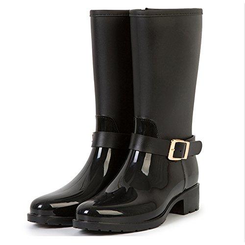 Fashion Boots Waterproof Booties Mid TONGPU Calf Black Women's zqBnPP5