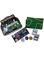 PÓKER Rock and Baby Set Blackjack, 200 chips + 2 premium decks + behang + dealerkaart, grote blindkaart en kleine blind, in metalen etui