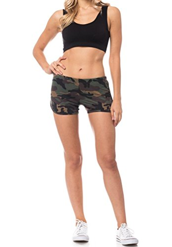 Urban Look Women's Dolphin Running Workout Shorts Yoga Sport Fitness Short Pant (Small, Camo) - Womens Urban Camo
