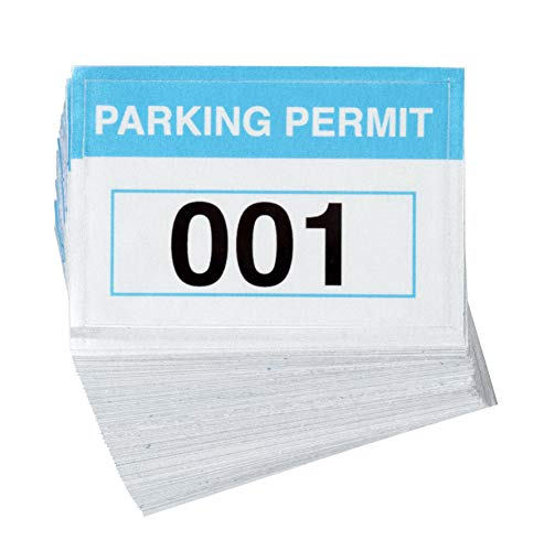 100-Pack Parking Permit - Reflective Parking Decal, Temporary Parking Pass, Car Parking Management, Blue, 2 x 3 - Decals Permit Parking