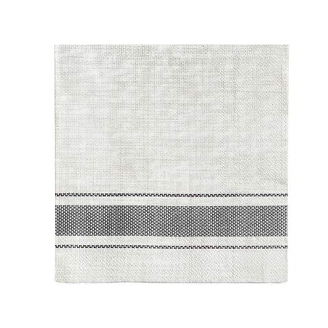 Pack of 20 Bistro Stripe Luncheon Size Paper Napkin Grey 6.5