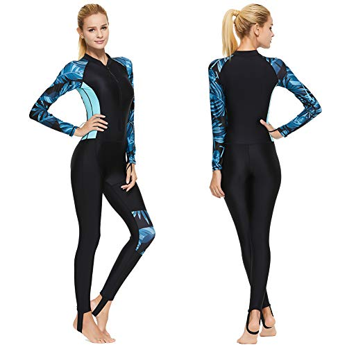 Full Body Scuba Rash Guard Lycra Dive Skin UV Swimwear Sport Skins for Men Women, Long Sleeve One Piece Front Zipper Diving Wetsuit for Surfing Swimming Snorkeling Canoeing (Women's Blue, XXL)