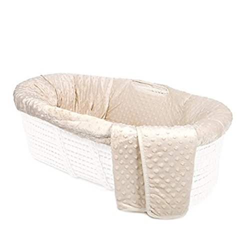 Tadpoles Minky Dot Moses Basket and Bedding Set, - Bedding Moses Basket