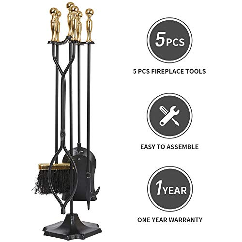 (5 Pcs Fireplace Tools Sets Golden Handle Wrought Iron Fire Place Tool Set and Holder Outdoor Fireset Fire Pit Stand Rustic Tongs Shovel Antique Brush Chimney Poker Wood Stove Hearth Accessories Kit)