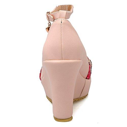 COOLCEPT Mujer Moda Cerrado Tacon de Cuna Correa de Tobillo Plataforma Bombas Zapatos Pink