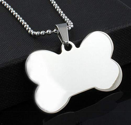 Stainless Steel Large Fashion Dog Tag Bone Pendant W/Bead Chain Necklace 24 ()