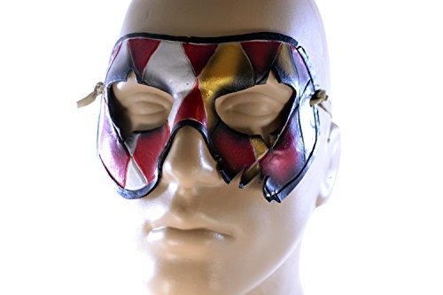 Two Face Harlequin Handmade Genuine Leather Mask in Red and Gold for Masquerades Halloween or Cosplay ()