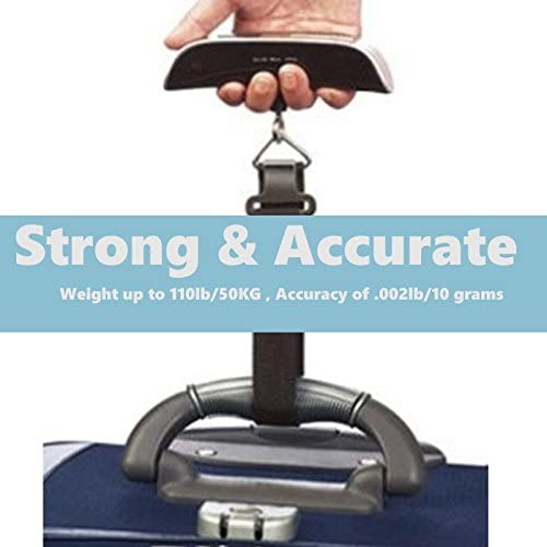 JacobsParts 110 Pounds Portable Travel LCD Digital Hanging Luggage Scale with Temperature Sensor