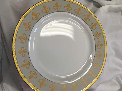 Royalty Porcelain Fleur-de-Lis Footed Cake Stand 24K Gold-Plated Bone China Tableware (Plate Royalty Cake)