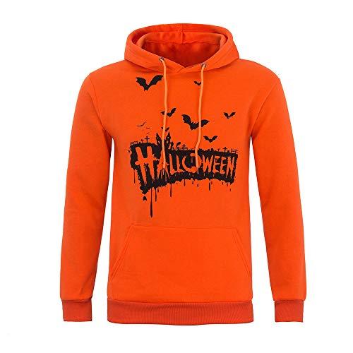 Sunhusing Autumn Winter Men Long Sleeve Halloween Letter Print Hooded Casual Sweatshirt Jacket for $<!--$3.95-->
