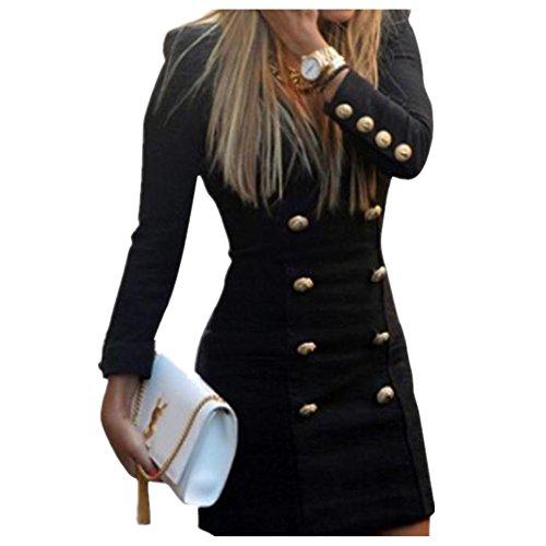 Clearance Sale! Women Dresses WEUIE New Women Slim Long Sleeve Buttons Casual Bodycon Cocktail Mini Dress (M, Black)