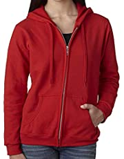 Gildan. Red Zip Up Hoodie Blank Plain Hooded Sweatshirt Sweater Female Ladies