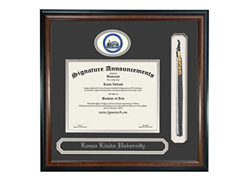 Signature Announcements Ohio Christian University Undergraduate, Graduate/Professional/Doctor Sculpted Foil Seal, Name & Tassel Diploma Frame, 16'' x 16'', Matte Mahogany by Signature Announcements
