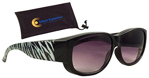 Print Fit Over Sunglasses by Wear Over Prescription Glasses - Over Eyeglasses - Light and Comfortable - Case Included (Zebra with case, Medium) (Over Zebra)
