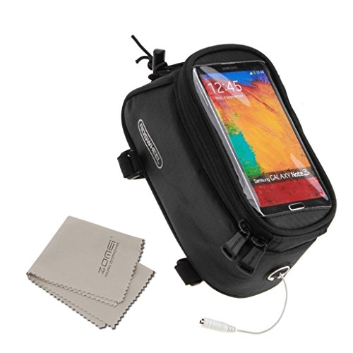 Handlebar Bike Rack Bag Touch Screen Mobile Phone Package Bike Accessories Bag Front Top Frame Pouch for iPhone Samsung LG Sony Nexus HTC + ZOMEI Clean Cloth (Balck, M(4.8 inch))