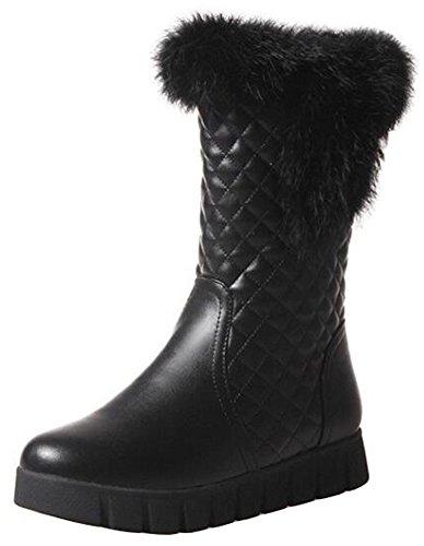 Summerwhisper Womens Anti Skid Faux Fur Plaid Round Toe Fleece Lined Platform Slip on Flats Mid Calf Snow Boots Black