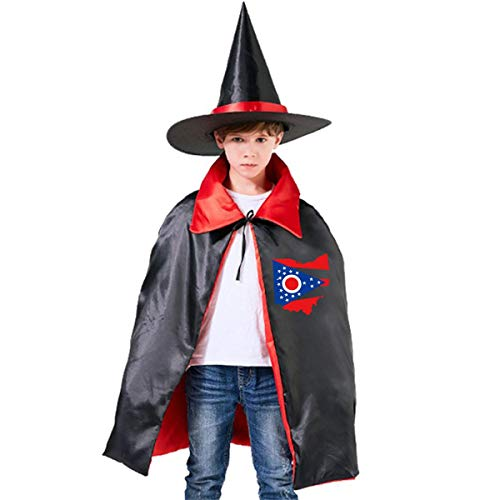 Kids Ohio State Flag Halloween Party Costumes Wizard Hat Cape Cloak Pointed Cap Grils -