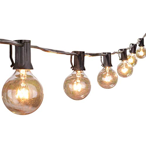 (50Ft Outdoor Patio String Lights with 50 Clear Globe G40 Bulbs,UL Certified for Patio Porch Backyard Deck Bistro Gazebos Pergolas Balcony Wedding Gathering Parties Markets Decor, Black)