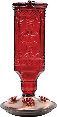 Perky-Pet 8116-2 Red Square Antique Bottle Glass Hummingbird Feeder Butterfly Hummingbird Feeder