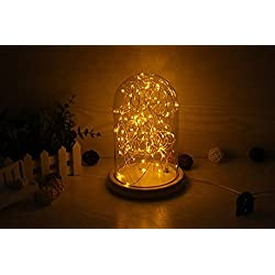 Minl Small night light glass cover solid wood borosilicate button lamp USB charging retro bedside lamp LED bars decorative stars energy-saving warm yellow warm white light (Color : Warm yellow light)