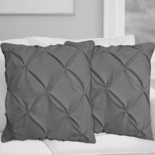 Dark Grey Pinch Pleated Pintuck Pillow Shams Set of 2 - Luxury 600 Thread Count 100% Natural Cotton Decorative Pillow Cover Pintuck European Pillow Sham (2 Pack, Euro 26'' x -