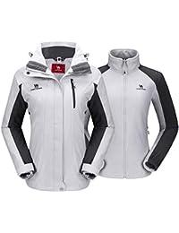 Women's Ski Jacket Winter Jacket Waterproof 3 in 1 Mountain Coat Windproof Hooded with Inner Warm Fleece Coat