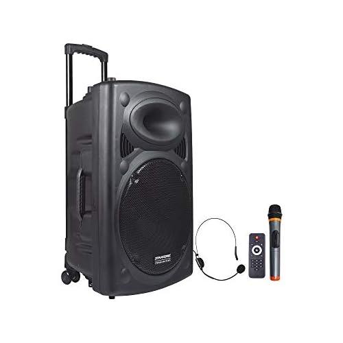 chollos oferta descuentos barato DYNASONIC Dynapro 15 Altavoz Inalámbrico Sistema Audio Profesional Megafonia Portátil Lector USB Bluetooth Radio FM y Micrófonos Color Negro DYNAPRO 15
