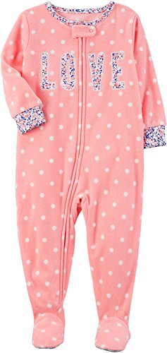 Carter's Baby Girls' 12M-24M One Piece Love Fleece Pajamas 12 Months