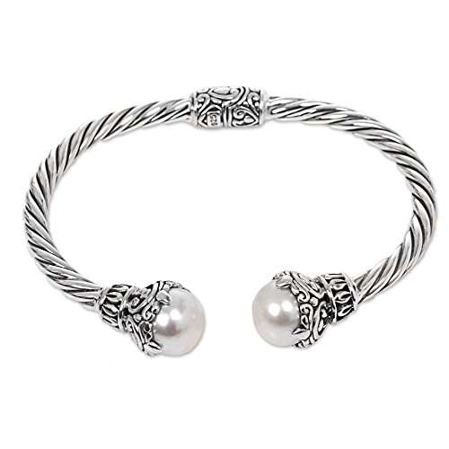 NOVICA Silver White Cultured Freshwater Pearl .925 Silver Cuff Bracelet 'Sterling Rope'