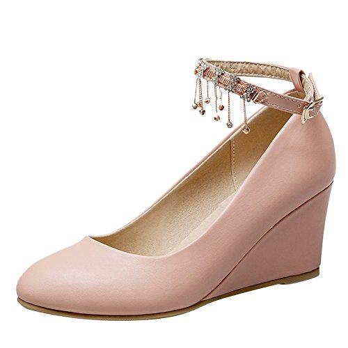 Pied De Charme Femmes Strass Cheville Sangle Talon Mi-talon Pompes Chaussures Rose