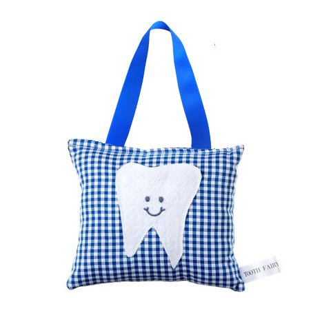 Boy's Tooth Fairy Pillow in Royal Blue Gingham by Tooth Fairy Pillow Shop