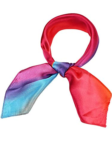 SATINIOR Silk Like Scarf Square Scarf Satin Headscarf Neck Scarves for Women and Girls (Print ()
