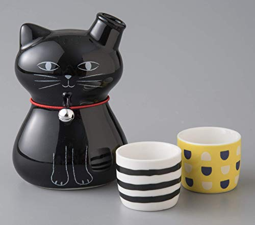 Okura Porcelain Cat Sake Set 2 Cups 40cc & 1 Cat-Shaped Decanter 270ml - Black Cat and 2 Cups 147046