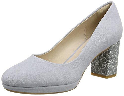 Clarks Kelda Hope, Zapatos de Tacón para Mujer Gris (Grey/Blue Suede)